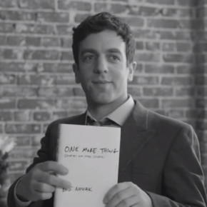 "BJ Novak with his book ""One More Thing"""