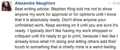Best/Worst Writing Advice Alexandra Naughton Has Ever Heard